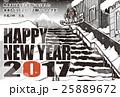 2017年賀状テンプレート「スノボニワトリ」 英語賀詞 日本語添え書き入り  赤黒2色 ハガキ横 25889672