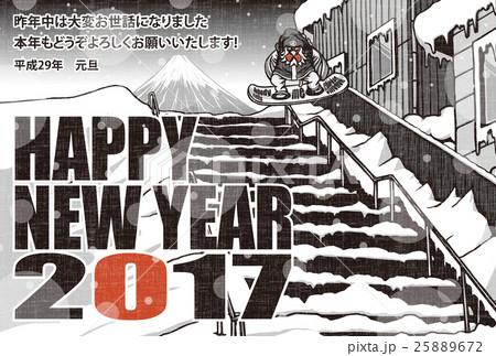 2017年賀状テンプレート「スノボニワトリ」 英語賀詞 日本語添え書き入り 赤黒2色 ハガキ横