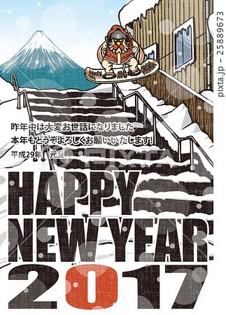 2017年賀状テンプレート「スノボニワトリ」 英語賀詞 日本語添え書き入り ハガキ縦