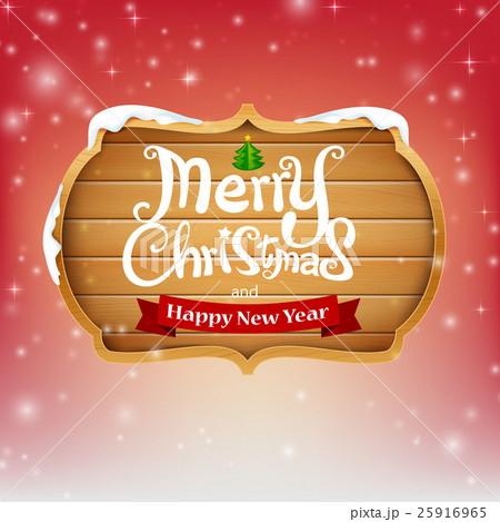 Wooden sign with text merry christmas vectorのイラスト素材 [25916965] - PIXTA