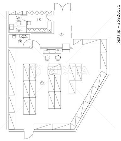 Standard office furniture symbols setのイラスト素材 [25920151] - PIXTA