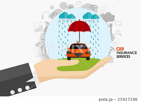 Car insurance business service. Vector illustration concept of insurance.のイラスト素材 [25927296] - PIXTA