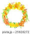 手描きで水彩とアクリル絵具のオレンジと黄色 25928272