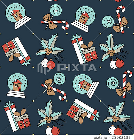 Vector seamless pattern with Christmas decorations 25932182