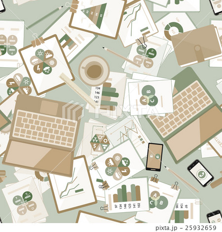 Seamless flat business vector pattern withのイラスト素材 [25932659] - PIXTA