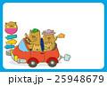 ドライブをするイノシシの家族(ハガキテンプレート) 25948679