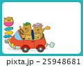 ドライブをするイノシシの家族(ハガキテンプレート) 25948681