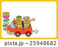 ドライブをするイノシシの家族(ハガキテンプレート) 25948682