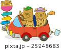 ドライブをするイノシシの家族(赤) 25948683