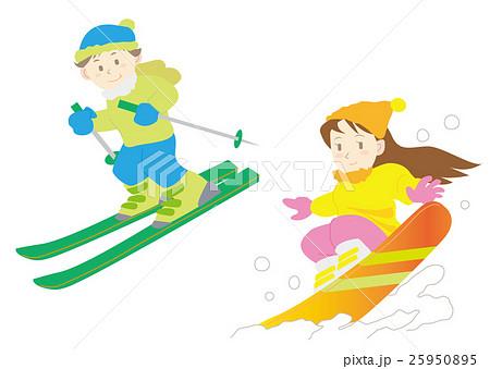 スキースノボーセットbのイラスト素材 25950895 Pixta