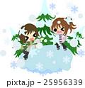 冬と女の子の可愛いイラスト -楽しい雪合戦- 25956339