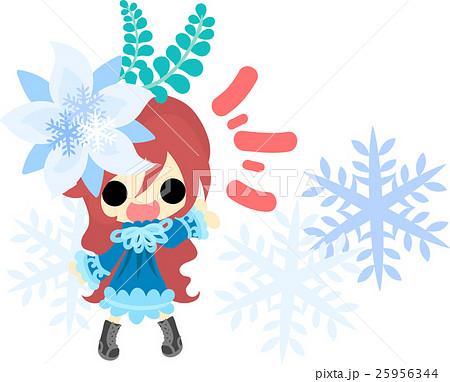冬と女の子の可愛いイラスト 綺麗な雪の髪飾り のイラスト素材