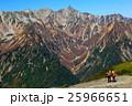 蝶ヶ岳から見る槍ヶ岳と登山者 25966651