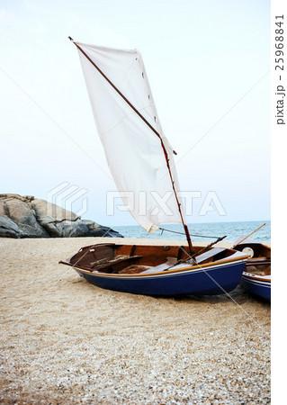 Sail Boats Sea Shore Lifesaver Flotation Life Buoy Rock Formation Concept 25968841