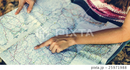 Map Destination Direction Route Travel Trip Trek Concept 25971988