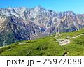 北アルプス・蝶ヶ岳稜線を行く登山者と槍ヶ岳 25972088