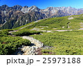 北アルプス・蝶ヶ岳稜線を行く登山者と槍・穂高連峰 25973188