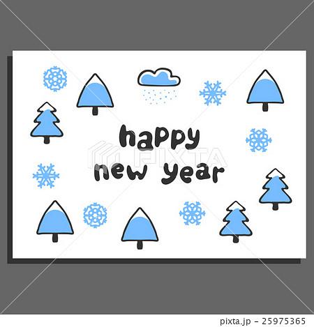 Happy new year greeting card with cute cartoonのイラスト素材 [25975365] - PIXTA