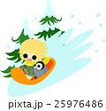 冬と女の子の可愛いイラスト -楽しいそり遊び- 25976486