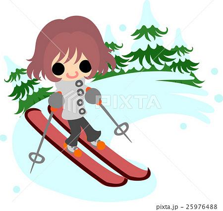 冬と女の子の可愛いイラスト 楽しいスキー のイラスト素材 25976488