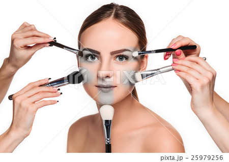 Beautiful female eyes with make-up and brushの写真素材 [25979256] - PIXTA