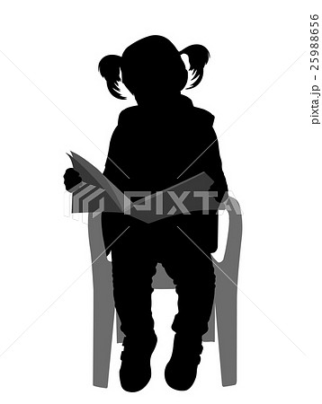 little girl reading a book silhouette 25988656