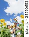 ひまわり畑で遊ぶ4人家族 25990653