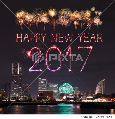 2017 New Year Fireworks over marina bayの写真素材 [25991424] - PIXTA