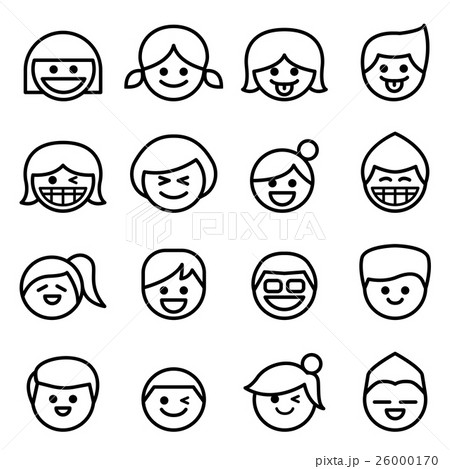Happy face smile face icon set in line style happy face smile face icon set in line style voltagebd Image collections