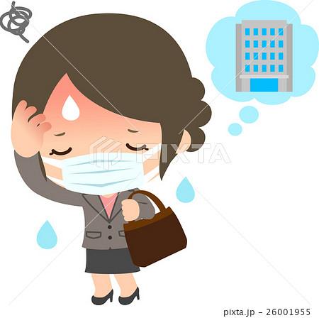 風邪をひいた通勤中の女性 26001955