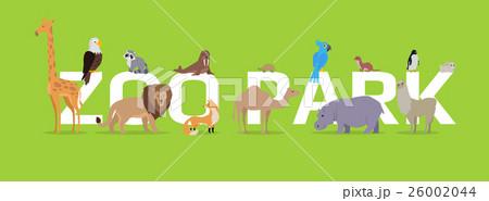 Zoo Park Conceptual Flat Style Vector Web Banner  26002044