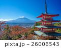 紅葉 秋 富士山の写真 26006543
