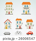 Set of old town buildings. Vector 26006547