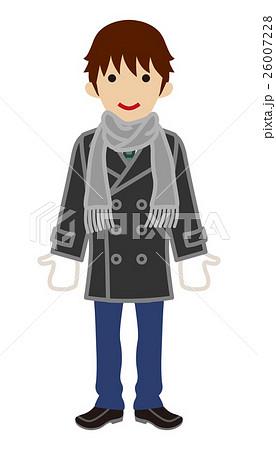 男子高校生 マフラー 冬服のイラスト素材 26007228 Pixta