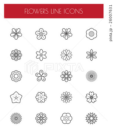 Thin line flower icons set. 26007631
