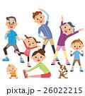 体操をする三世代家族 26022215