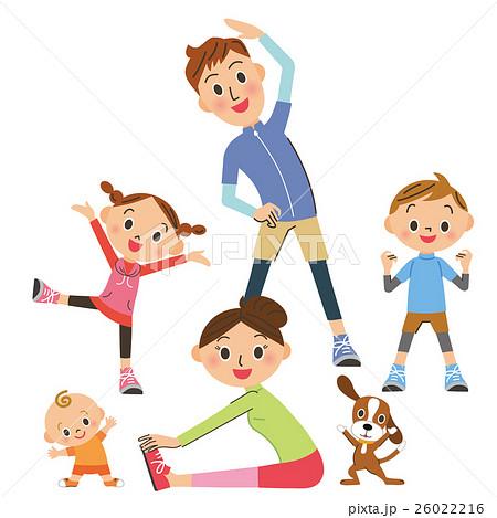 体操をする親子のイラスト素材 26022216 Pixta