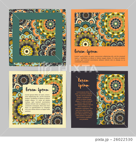 Set of square template cards with mandala pattern.のイラスト素材 [26022530] - PIXTA