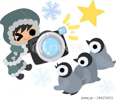 冬と女の子の可愛いイラスト 赤ちゃんペンギンの撮影 のイラスト素材