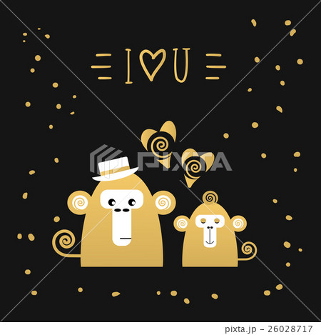 Cute card with monkeys, love collection. のイラスト素材 [26028717] - PIXTA