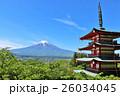 初夏の青空と新緑 五重塔と富士山 26034045