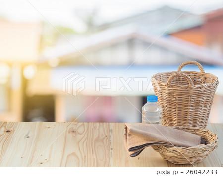 Wicker basket, bottle and fabric on terrace pine.の写真素材 [26042233] - PIXTA