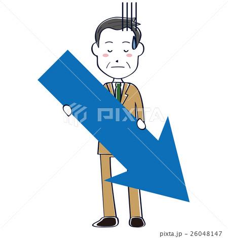 ベージュのスーツのかわいいおじさん ビジネスマン 線画 上半身 矢印を