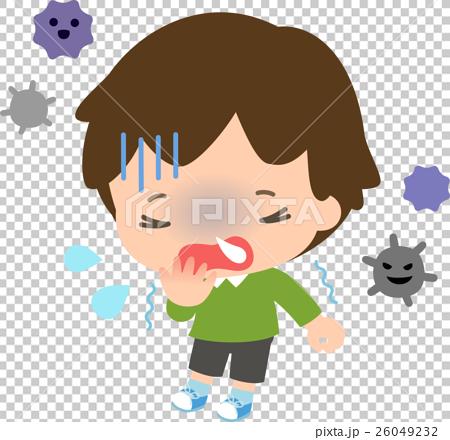 風邪をひいた男の子とウイルス 26049232