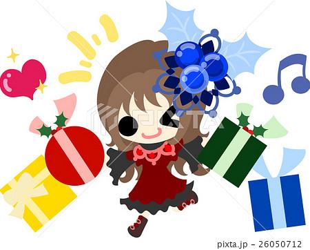 クリスマスと女の子の可愛いイラスト 嬉しいプレゼント のイラスト素材