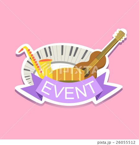 jazz concert event template label cute stickerのイラスト素材