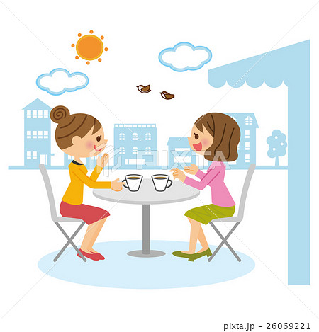 オープンカフェ 女友達 26069221