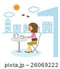 女性 人物 オープンカフェのイラスト 26069222