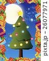 背景素材,クリスマスカード,ツリー,招待状,もみの木,プレゼント,贈り物,デコレーションオーナメント 26077971
