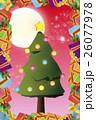 背景素材,クリスマスカード,ツリー,招待状,もみの木,プレゼント,贈り物,デコレーションオーナメント 26077978